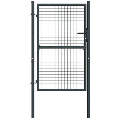 Mesh Garden Gate Galvanised Steel 100x200 cm Grey