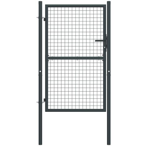 Mesh Garden Gate Galvanised Steel 100x225 cm Grey