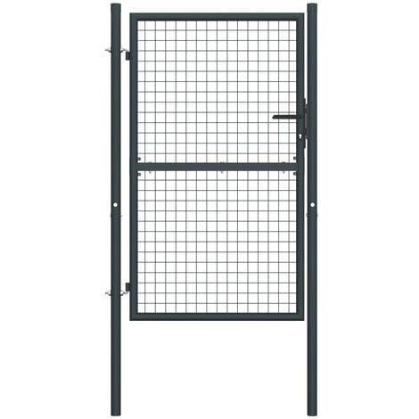 Mesh Garden Gate Galvanised Steel 100x225 cm Grey - Grey