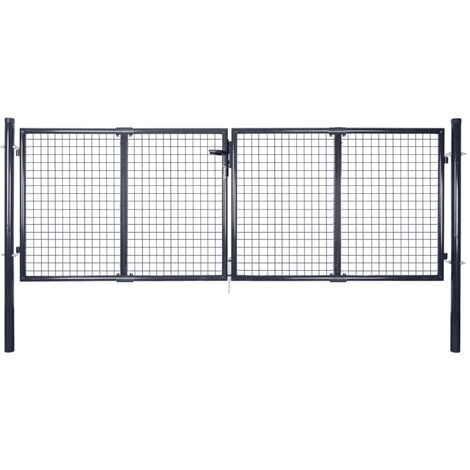 Mesh Garden Gate Galvanised Steel 289x125 cm Grey