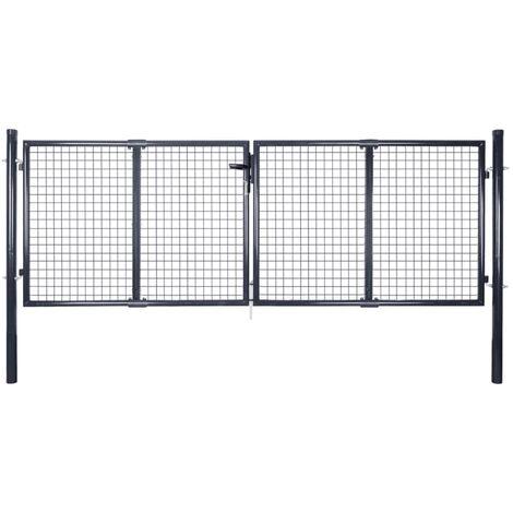 Mesh Garden Gate Galvanised Steel 289x75 cm Grey