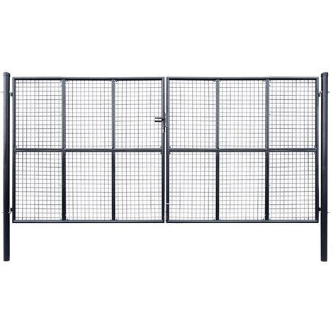 Mesh Garden Gate Galvanised Steel 400x175 cm Grey
