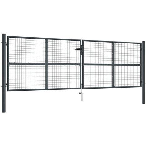 Mesh Garden Gate Galvanised Steel 400x175 cm Grey - Grey