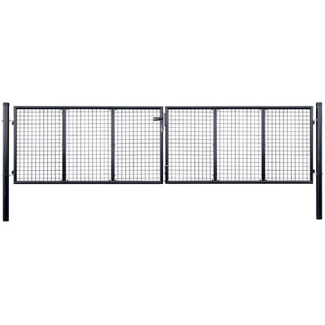 Mesh Garden Gate Galvanised Steel 400x75 cm Grey
