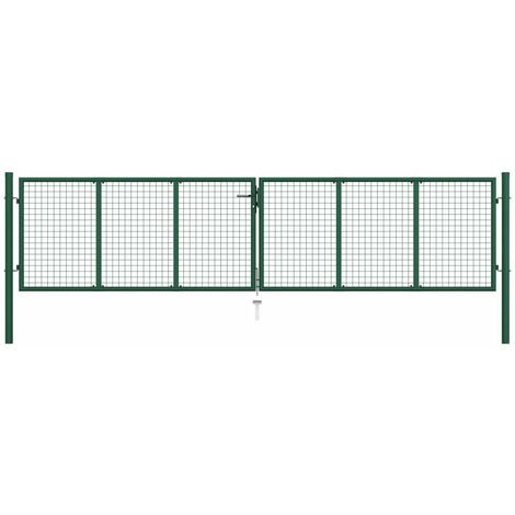 Mesh Garden Gate Steel 400x75 cm Green - Green