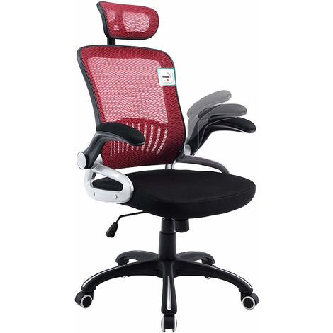 Mesh High Back Swivel Office Chair with Head Support & Adjustable Arms
