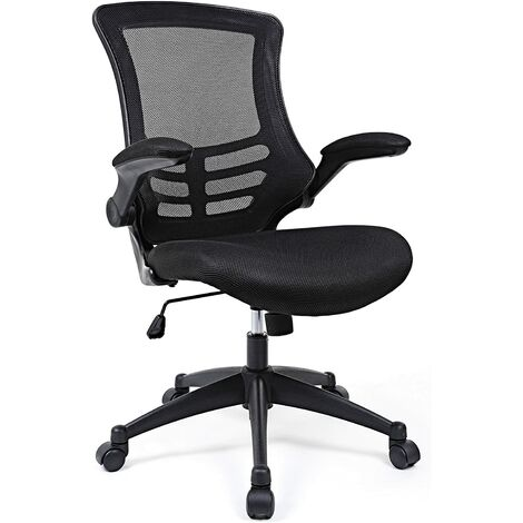 Mesh Office Chair Desk Chair, Swivel Computer Chair with Flip up Armrests, Black, OBN81BUK - Black