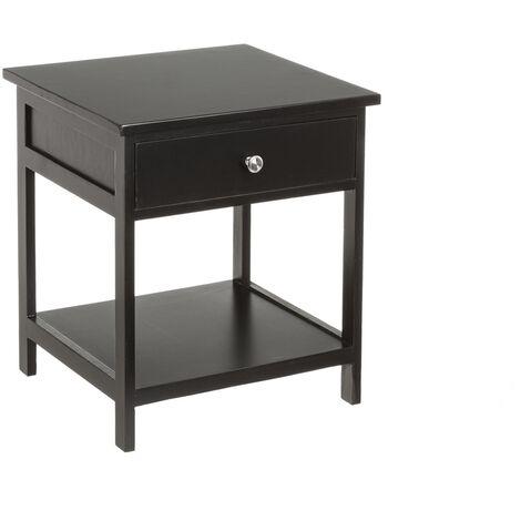 Mesilla de noche de 1 cajón y 1 estante negra de paulonia yMDF de 45x35x40 cm