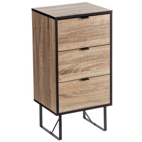 Mesilla de noche de 3 cajones industrial de madera natural y metal de 80x35x40 cm