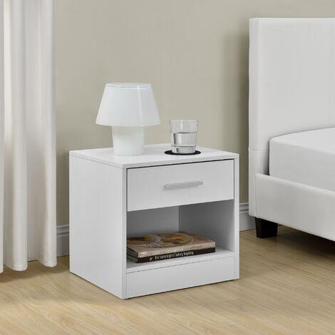 Mesilla de noche elegante blanca moderna 1 cajón y 1 balda aglomerado