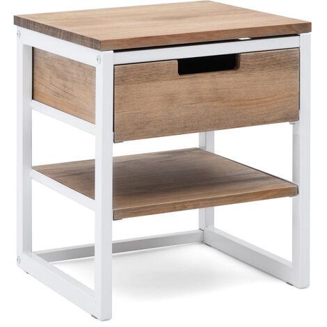 Mesilla de Noche iCub 40x40x47cm 1 cajon 1 estante blanca en madera envejecida estilo industrial - 40X40X47 cm - Blanco - Efecto Vintage
