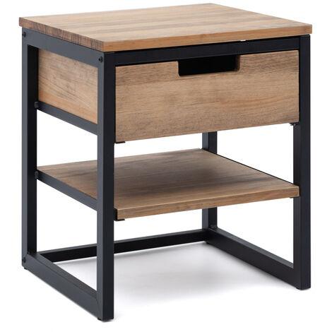 Mesilla de Noche iCub 40x40x47cm 1 cajon 1 estante negra en madera envejecida estilo industrial Box Furniture - 40X40X47 cm - Negro - Efecto Vintage