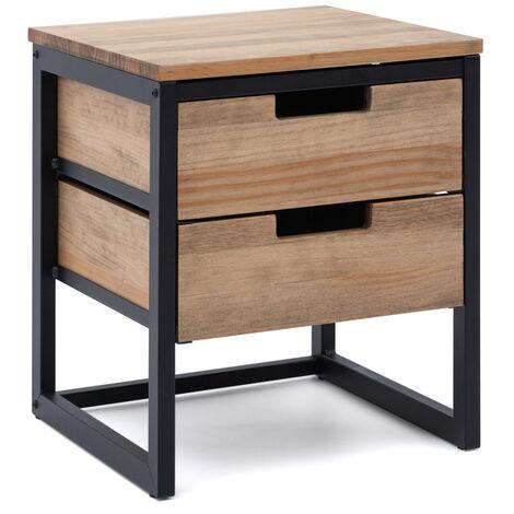 Mesilla de Noche iCub 40x40x47cm 2 cajones negra en madera envejecida estilo industrial Box Furniture - 40X40X47 cm - Negro - Efecto Vintage