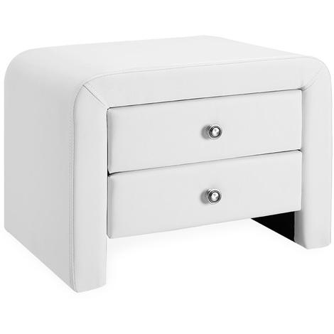 Mesilla de noche tapizada (blanca) (50cm x 38cm x 37cm) Mesita de noche con 2 cajones y balda - Mesa auxiliar - mesa dormitorio