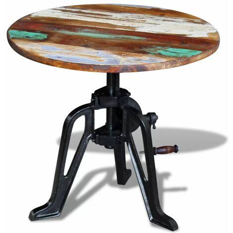 Mesita auxiliar madera reciclada y hierro fundido 60x(42-63) cm