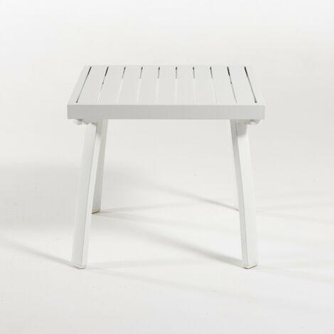 Mesita auxiliar para jardín de aluminio color blanco | Tamaño: 50x50x47 cm | Patas desmontables | Portes gratis