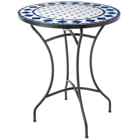 Mesita de jardín con mosaico Delfos de cerámica blanca y azul de Ø 60x72 cm