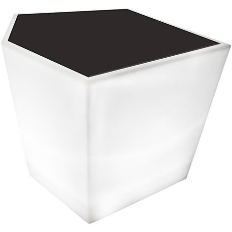 Mesita de jardín led Penta geométrica de PE blanca y gris de 40x33x38 cm