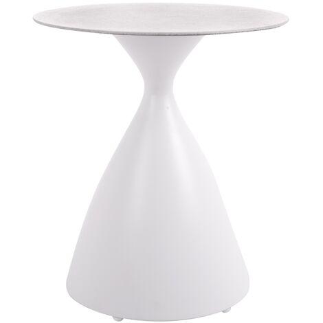 Mesita de jardín pedestal Nadia de cristal templado y aluminio blanca de Ø 45x50 cm