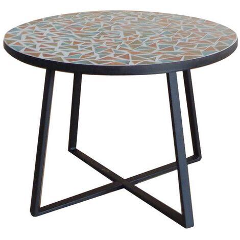 Mesita de jardín Vania de centro con mosaico de cerámica y hierro multicolor de Ø 60x46 cm