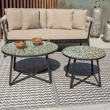 Mesita de jardín Vania de centro con mosaico de cerámica y hierro multicolor de Ø 80x44 cm