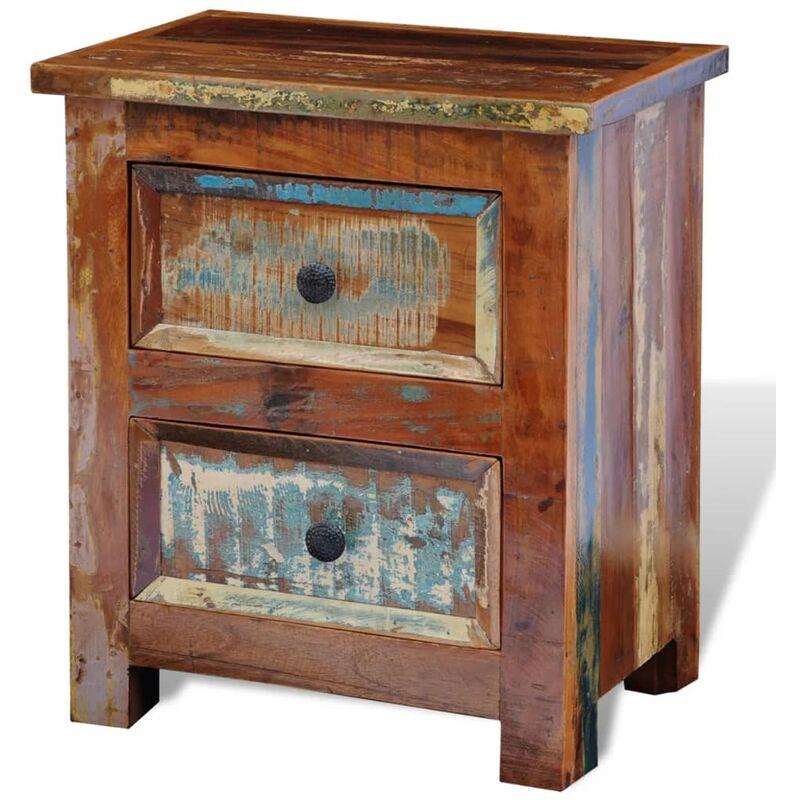 Mesita de noche con 2 cajones de madera maciza reciclada - Marrón