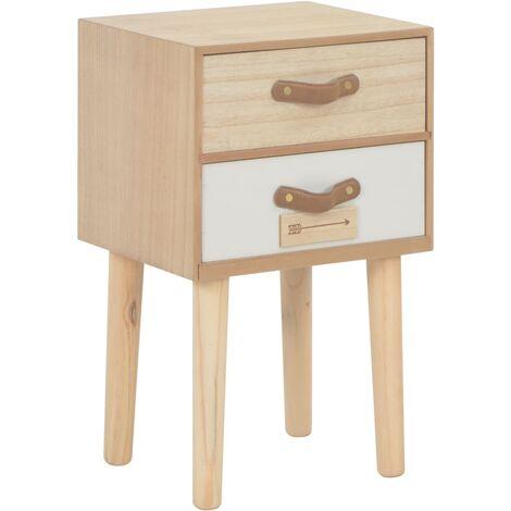 Mesita de noche con 2 cajones madera maciza pino 30x25x49,5 cm