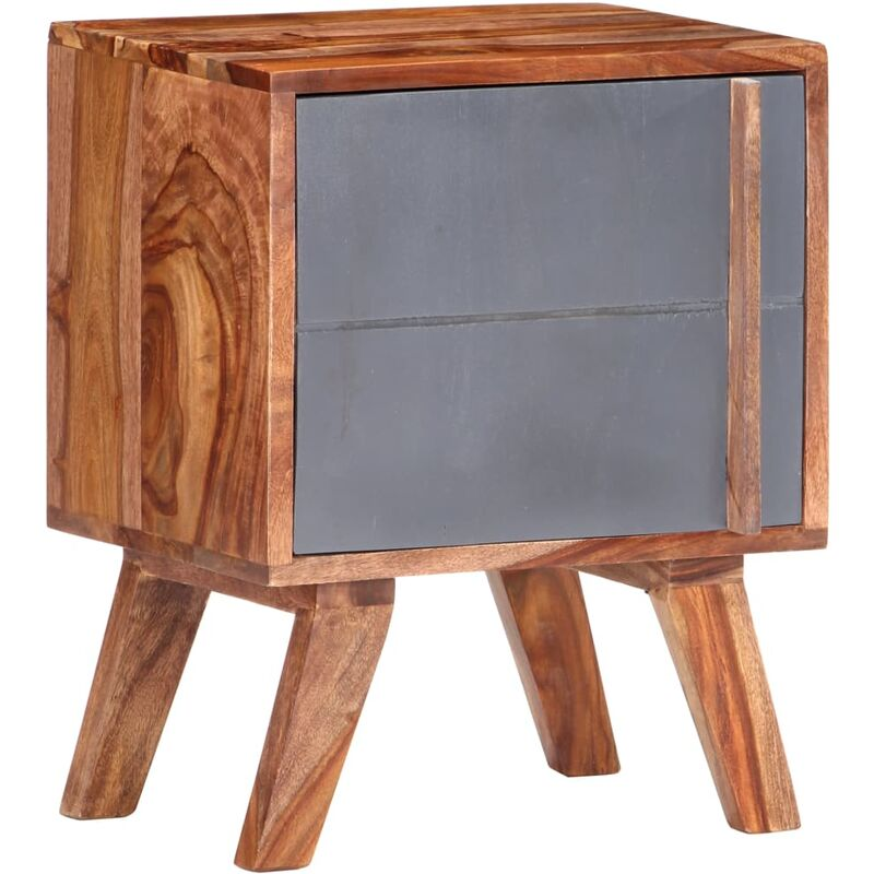 Mesita de noche de madera maciza de sheesham gris 40x30x50 cm - Gris