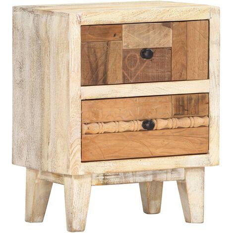Mesita de noche de madera maciza reciclada 40x30x50 cm