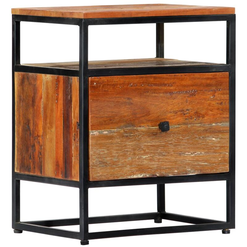 Youthup - Mesita de noche de madera maciza reciclada y acero 40x30x50 cm - Marrón