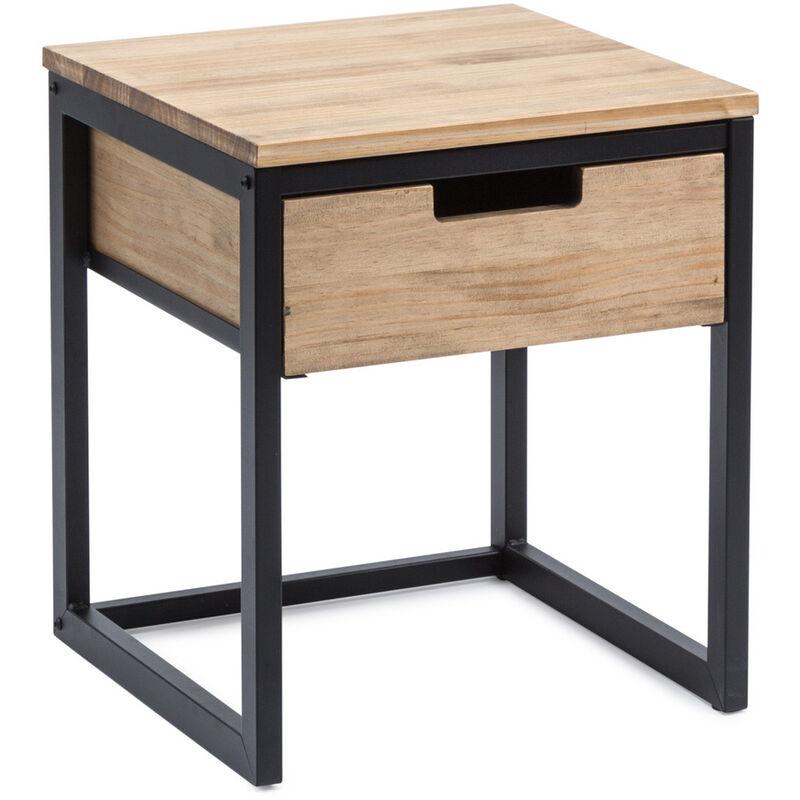 Mesita de noche con cajón ECO Three Vintage 40x40x47cm Negro efecto vintage Box Furniture - 40X40X47 cm - Efecto Vintage - Negro