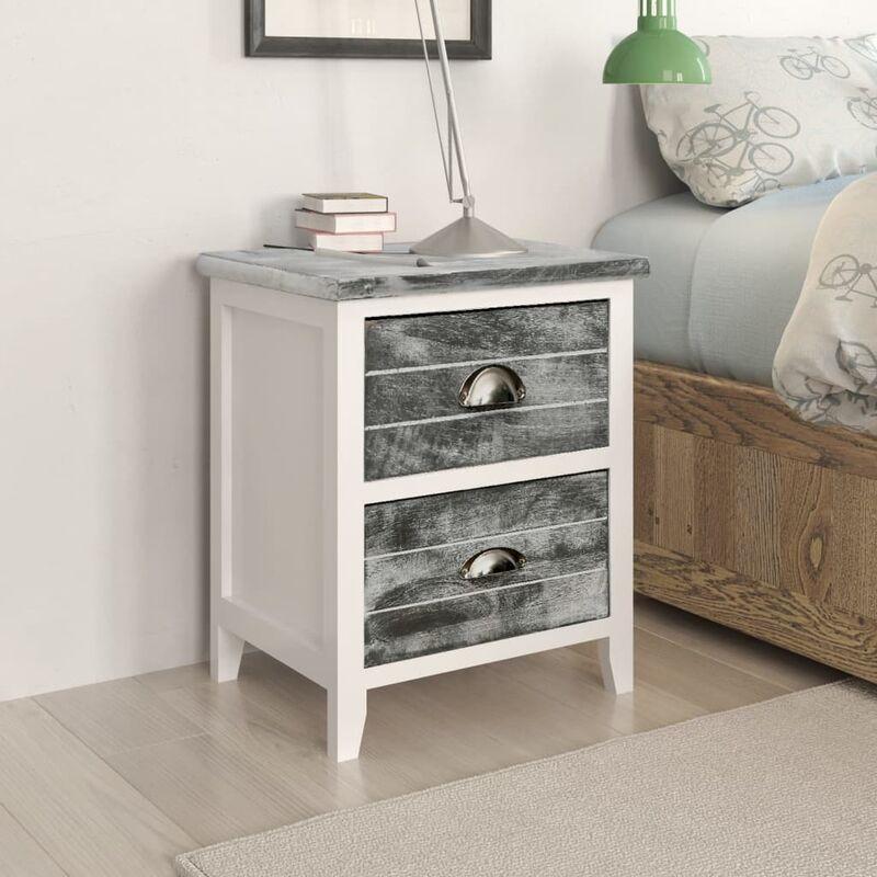Mesita de noche madera de paulownia gris y blanca 38x28x45 cm - Gris