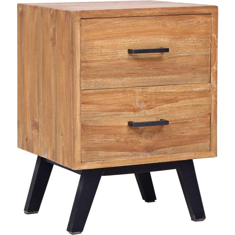 Mesita de noche madera de teca maciza 40x35x55 cm - Marrón