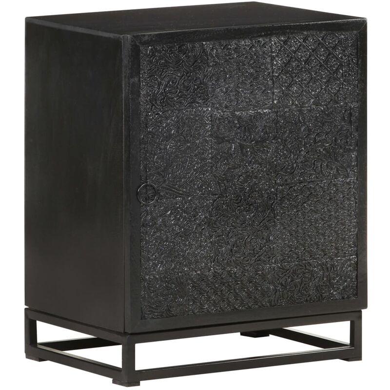 Youthup - Mesita de noche madera maciza acacia y mango negro 40x30x50 cm - Negro