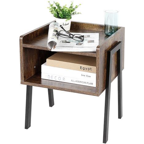 Mesita de Noche Vintage, Mesa Auxiliar apilable, Mesa para café con Compartimento Delantero Abierto,42 x 35 x 52 cm