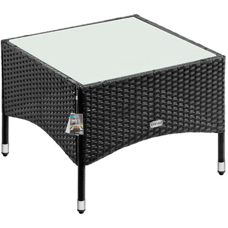 Mesita de poliratán mesa auxiliar para exterior jardín con tablero de vidrio resistente a loa rayos UV - modelo a elegir M1 - 58x58x42cm