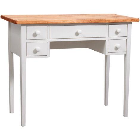 Mesita escritorio de colgar de madera maciza de tilo armazón blanco envejecido acabado con efecto natural