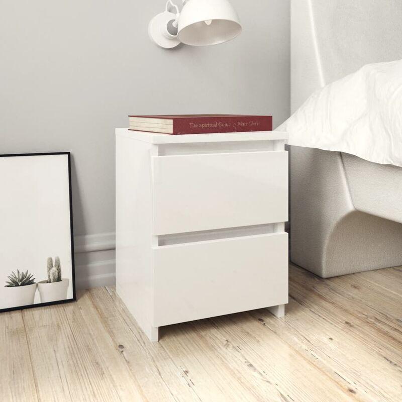 Mesitas de noche 2 uds aglomerado blanco brillante 30x30x40 cm - Blanco