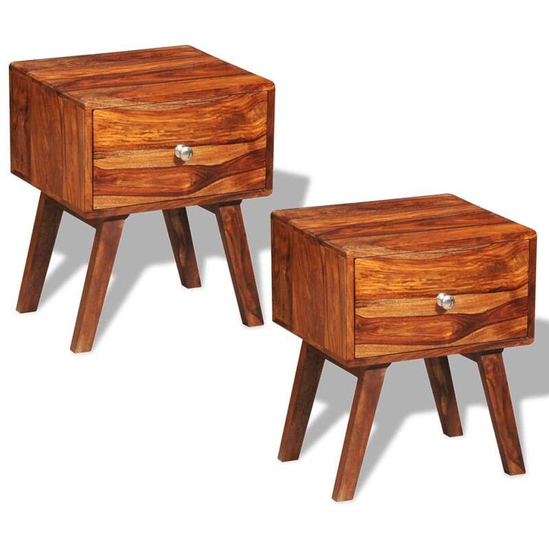 Mesitas de noche con 1 cajón de madera de sheesham 2 uds 55 cm - Marrón
