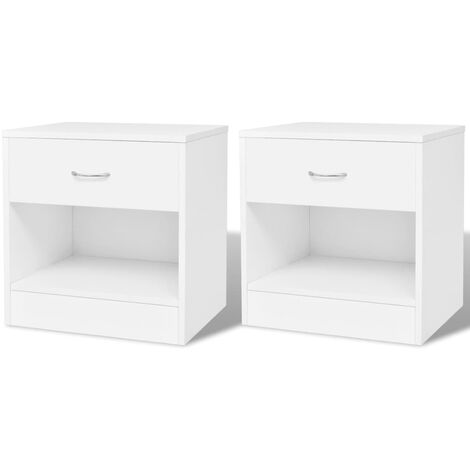 Mesitas de noche con cajón blancas 2 unidades