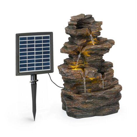 Messina Fuente solar de cascada Fuente para jardín 4 niveles Batería