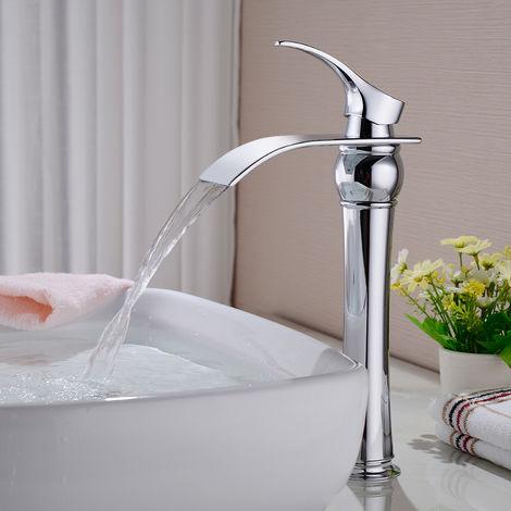 Messing Chrom Einhebel-Waschtischarmaturen mit Hoher Wasserfall Auslauf Wasserhahn Armatur Bad für Badezimmer Waschbecken