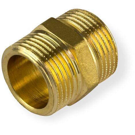"""Messing Doppelnippel 3/4"""" DN20 Rohrnippel Gewindenippel Verbinder Rohrverbinder"""