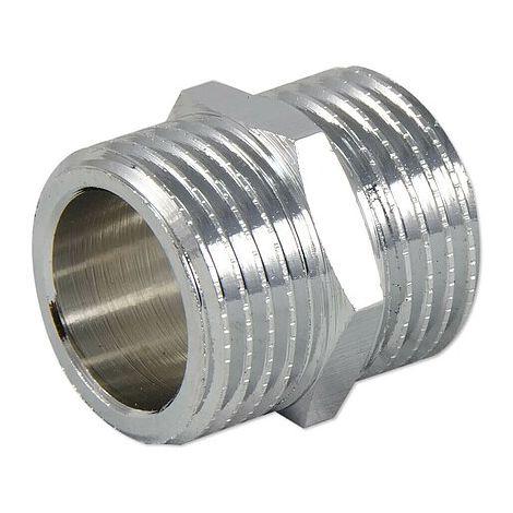 Messing Gewindefitting-Doppelnippel 1/2'' AG x 1/2'' AG - verchromt
