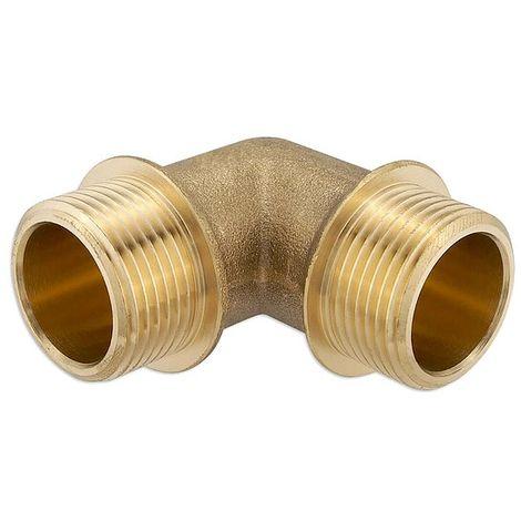 Messing Gewindefitting-Winkel 90° - 3/4'' AG x 3/4'' AG - mit Flansch