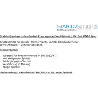 Messing Hahnoberteil 3/4 DN20 26mm Ventiloberteil Schrägsitzventil Ventileinsatz