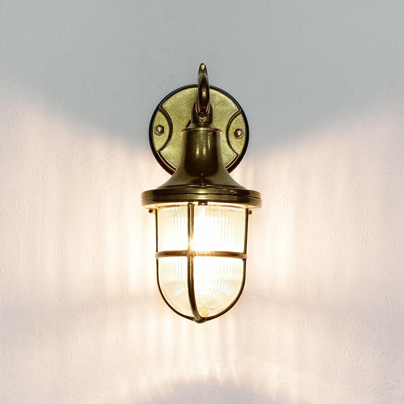 Messinglampe Wandleuchte SANTORIN für Außen Haus Hof - LICHT-ERLEBNISSE
