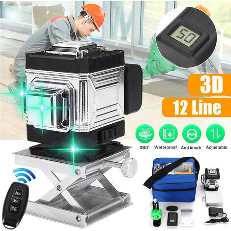 Mesure de nivellement automatique de niveau laser vertical horizontal à 12 lignes 3D 360 ° Laser super puissant