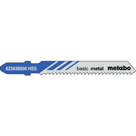 Metabo 5 lames de scie sauteuse « basic metal » 51/ 2,0 mm, HSS - 623638000
