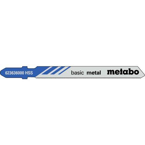 Metabo 5 lames de scie sauteuse « basic metal » 66/ 0,7 mm, HSS - 623636000